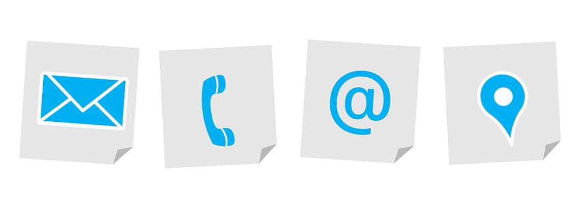 Simboli email, telefono e contatti vari